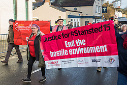 Chelmsford, UK. 6th February, 2019. Activists from around the UK gather to show solidarity with the Stansted 15 before their sentencing at Chelmsford Crown Court. The Stansted 15 were convicted on 10th December of an anti-terrorism offence under the Aviation and Maritime Security Act 1990 following non-violent direct action to try to prevent a Home Office deportation flight carrying precarious migrants to Nigeria, Ghana and Sierra Leone from taking off from Stansted airport in March 2017.