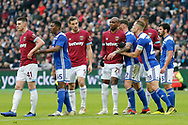 Birmingham City defend a West Ham United corner during the The FA Cup 3rd round match between West Ham United and Birmingham City at the London Stadium, London, England on 5 January 2019.