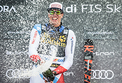 Winner ZENHAEUSERN Ramon of Switzerland celebrates at trophy ceremony after the Audi FIS Alpine Ski World Cup Men's Slalom 58th Vitranc Cup 2019 on March 10, 2019 in Podkoren, Kranjska Gora, Slovenia. Photo by Matic Ritonja / Sportida