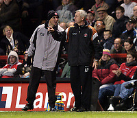Photo: Olly Greenwood.<br />Charlton Athletic v Fulham. The Barclays Premiership. 27/12/2006. Charlton manager Alan Pardew is pulled away by the 4th official