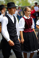 People in traditional Hungarian dress - Annual wine harvest festival ( szuret fesztival ) - Badacsony - Balaton -  Hungary .<br /> <br /> Visit our HUNGARY HISTORIC PLACES PHOTO COLLECTIONS for more photos to download or buy as wall art prints https://funkystock.photoshelter.com/gallery-collection/Pictures-Images-of-Hungary-Photos-of-Hungarian-Historic-Landmark-Sites/C0000Te8AnPgxjRg