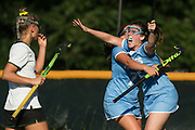 South Burlington's Kate Hall (2) celebrates an overtime goal during the girls field hockey game between the South Burlington Wolves and the Rice Green Knights at Rice Memorial High School on Tuesday afternoon September 4, 2018 in South Burlington. (BRIAN JENKINS/for the FREE PRESS)