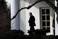 On January 25.2017 President Donald Trump walks from the Oval Office to Marine One for his first trip on Marine One as the President of the United States.  <br /> <br /> Photo by Dennis Brack