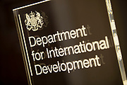 "Sign for DfID Department for International Development. London, UK. DFID is a United Kingdom government department. It was separated from the Foreign and Commonwealth Office in 1997. The goal of the department is ""to promote sustainable development and eliminate world poverty""."