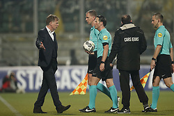 (L-R) coach Fons Groenendijk of ADO Den Haag, referee Danny Makkelie during the Dutch Eredivisie match between ADO Den Haag and NAC Breda at Cars Jeans stadium on March 10, 2018 in The Hague, The Netherlands