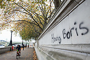 Graffiti calling for the death penalty for Prime Minister Boris Johnson is pictured close to the Houses of Parliament on 30 October 2020 in London, United Kingdom. There has been widespread criticism of the Government's handling of the coronavirus pandemic.