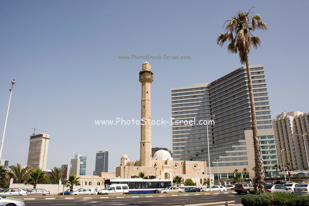 Tel Aviv, Jaffa, Israel, The Hasan Beq mosque, with a modern hotel building in the background