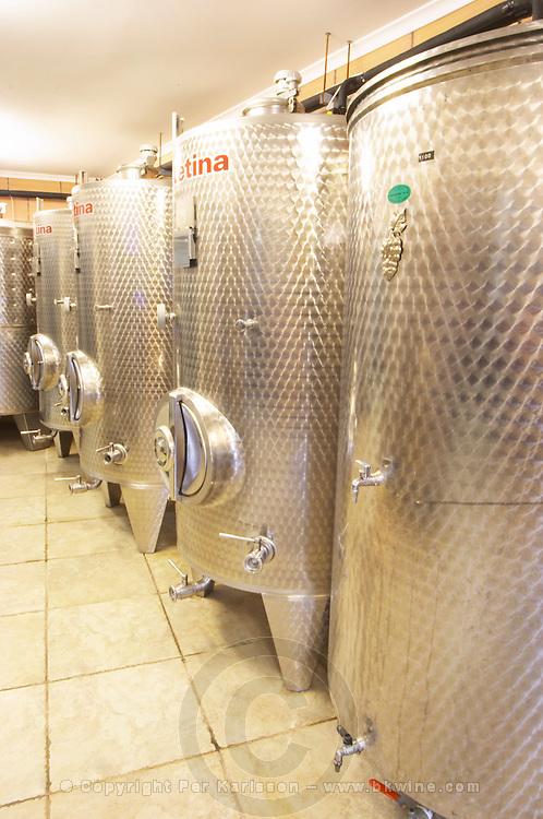 The winery with modern stainless steel fermentation tanks. Toreta Vinarija Winery in Smokvica village on Korcula island. Vinarija Toreta Winery, Smokvica town. Peljesac peninsula. Dalmatian Coast, Croatia, Europe.