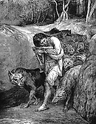 The Wolf-Charmer. Illustration by John La Farge published New York 1881. Belief in wolf charmers widespread in France in first half of 19th century and was last vestige of were-wolf legend.