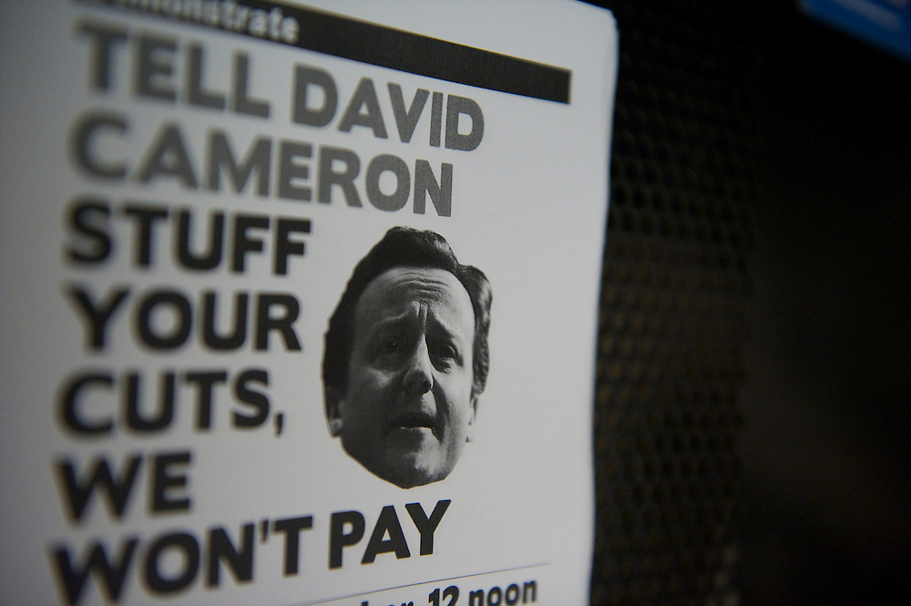 A negative leaflet, dirisive to Prime Minister David Cameron, is distributed during a fringe panel discussion during the Labour Party Conference in Manchester on 28 September 2010.