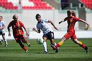 England's Nikita Parris © gets in a shot. UEFA Womens U19 Championships 2013 match, Wales v England at Parc y Scarlets in Llanelli on Thursday 22nd August 2013. pic by Andrew Orchard ,Andrew Orchard sports photography,