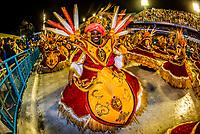 """Dancers called """"ala das Baianas"""" spinning, Carnaval parade of Unidos de Bangu samba school in the Sambadrome, Rio de Janeiro, Brazil."""