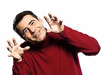 caucasian man  teasing childish  gesture studio portrait on isolated white backgound