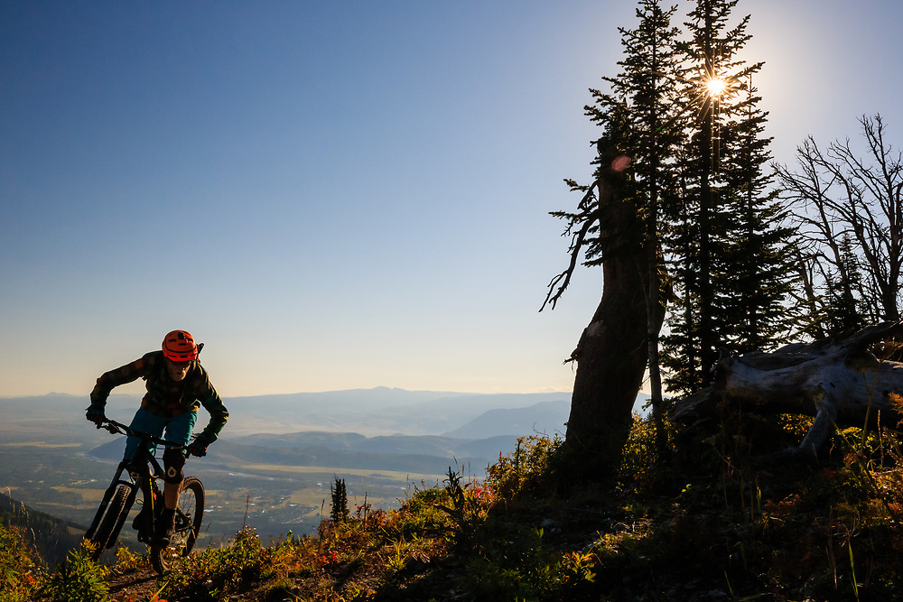 Andrew Whiteford rides the connector ridge on Teton Pass headed for Black's Canyon near Wilson, Wyoming.