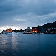 Three weeks aboard the Kong Harald. Hurtigruten, the Coastal Express. Bergen. Bryggen wharf and harbour.
