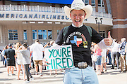 Jake Byrd waits outside to hear presidential candidate Donald Trump speak during a rally at the American Airlines Center in Dallas, Texas on September 14, 2015. (Cooper Neill for The New York Times)