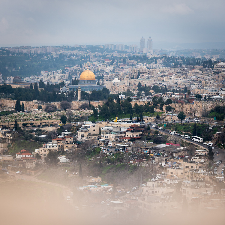 25 February 2020, Jerusalem: View of the Jerualem Old City from the Mount of Olives.
