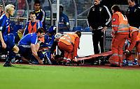 Fotball , 19. september 2015 ,   Eliteserien , Tippeligaen <br /> Stabæk - Tromsø 2-1<br /> Yassine El Ghanassy , bæres vekk på båre