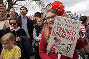Campaigners in Brixton against the closure by Lambeth council  of Carnegie Library in Herne Hill, south London, after marching emerge from the premises on the 10th day of occupation, 9th April 2016. The local community have been occupying their important resource for learning and social hub and after a long campaign, Lambeth have gone ahead and closed the library's doors for the last time because they say, cuts to their budget mean millions must be saved. They plan to re-purpose it into a gym although details are unknown.