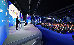 October 3, 2018 - Moscow, Russia - October 3, 2018. - Russia, Moscow. - Russian President Vladimir Putin speaks at the plenary session 'Sustainable energy for a changing world' during the 2nd Russian Energy Week international energy efficiency and energy development forum, at the Manezh Exhibition Center. (Credit Image: © Russian Look via ZUMA Wire)