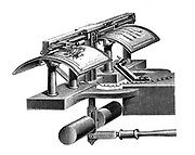 Caselli's pantelegraph: At the sending station the dispatch was written or drawn on sheet of metallized paper in thick insulating ink and placed on curved plate. At receiving station, sheet of paper impregnated with potassium ferrocyanide placed in plate and stylus produced imaged on the impregnated paper. Receiving apparatus. Wood engraving from Amedee Guillemin 'Les Applications de la Physique', Paris, 1874