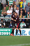 Readings Adam Le Fondre (9) celebrates after he scores the opening goal from a penalty during the Skybet championship match, Yeovil Town v Reading at Huish Park in Yeovil on Saturday 31st August 2013. <br /> Picture by Sophie Elbourn, Andrew Orchard sports photography,