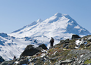 From the Chain Lakes Loop trail at Herman Saddle in Mount Baker Wilderness, view Mount Baker (10,781 feet elevation), Whatcom County, Washington, USA
