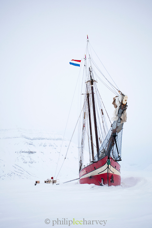The Noorderlicht, a Dutch Schooner. Each year the Nooderlicht is frozen into the ice in Spitsbergen, and serves as an excellent base camp in the wilderness, perfect for spotting polar bears. Spitsbergen is the largest island of the arctic archipelago Svalbard, of Norway
