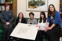 ROYAL MAIL. Apprentices from across the UK , left to right, Project management apprentice Leah Tipping, 20, Fleet apprentice Caitlin Slade, 29, project Management apprentice Katherine Palmer, 38, HR apprentice Sara McGinlay meet Apprenticeships minister Rt. Hon. Anne Milton MP, centre, at the House of commons as Royal Mail launches a postmark to commemorate Apprenticeships Week. House of Commons, London, March 07 2018.