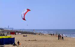 Kite surfing in De Haan, Belgium, Sunday, Sept. 14, 2008. (Photo © Jock Fistick)