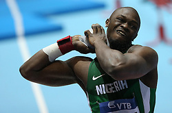 07.03.2014, Ergo Arena, Sopot, POL, IAAF, Leichtathletik Indoor WM, Sopot 2014, Tag 1, im Bild Mozia (Nigeria) competite during the Shot Put qualifications // Mozia (Nigeria) competite during the Shot Put qualifications during day one of IAAF World Indoor Championships Sopot 2014 at the Ergo Arena in Sopot, Poland on 2014/03/07. EXPA Pictures © 2014, PhotoCredit: EXPA/ Newspix/ Michal Fludra<br /> <br /> *****ATTENTION - for AUT, SLO, CRO, SRB, BIH, MAZ, TUR, SUI, SWE only*****