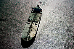Aerial view of a tanker in the Port of Houston