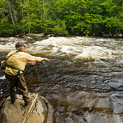 Fly-fishing on the Connecticut River in Lake Francis State Park in Pittsburg, New Hampshire.