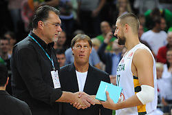 Arvydas Sabonis and Jonas VALANCIUNAS of Lithuania after the friendly match between National Teams of Slovenia and Lithuania before World Championship Spain 2014 on August 18, 2014 in Kaunas, Lithuania. Photo by Robertas Dackus / Sportida.com
