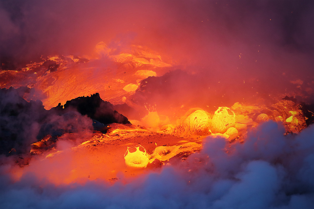 This fiery scene literally broke out in a matter of seconds, as molten lava began gushing from the fractured crust of a tube while trapped steam beneath created a raging, bubbling inferno...and within 5 minutes, it was over!
