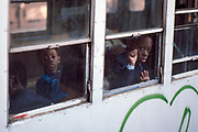 Boys in Train Window, New York City, New York, USA, April 1985