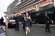 Koningin Maxima doopt het cruiseschip ms Koningsdam van Holland America Line in Rotterdam.<br /> <br /> Queen Maxima at the cruise ship ms Koningsdam Holland America Line in Rotterdanm for namen the ship.<br /> <br /> op de foto / On the photo:  Koningin Maxima met het het cruiseschip ms Koningsdam van Holland America Line.
