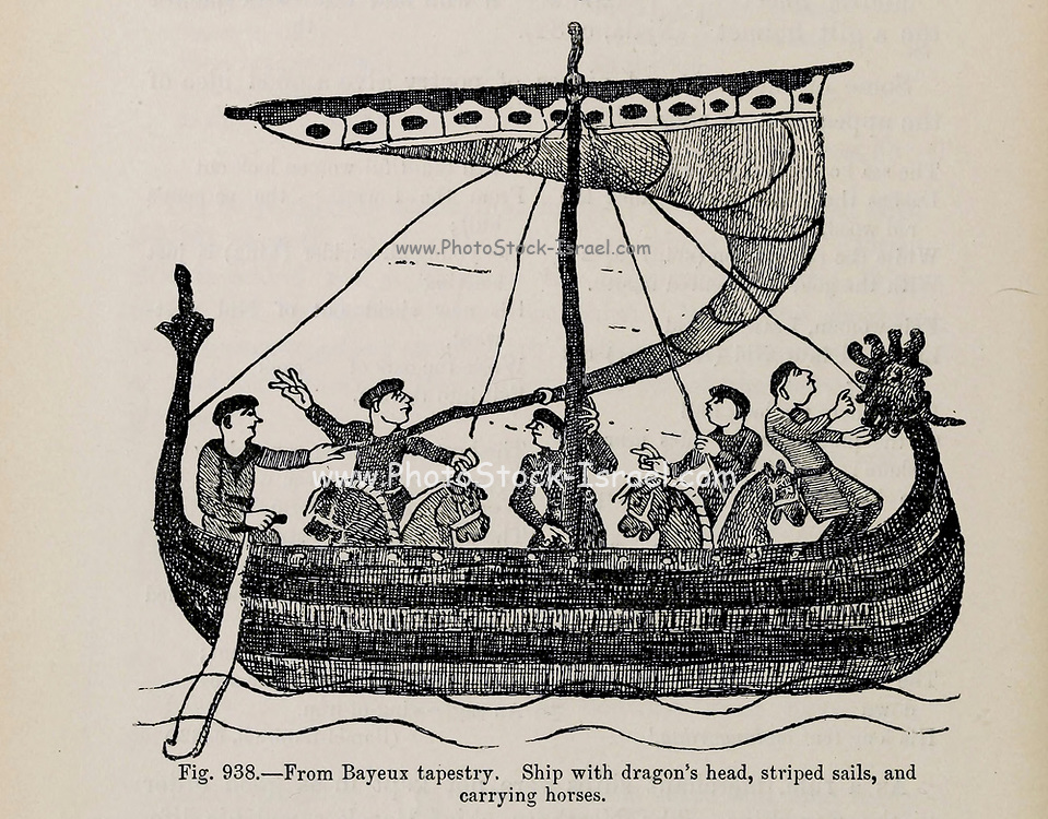 full rigged Viking dragon head ship, lined with shields, striped sails and men pulling on oars. From the book ' The viking age: the early history, manners, and customs of the ancestors of the English-speaking nations ' Volume 2 by Du Chaillu, Paul B. (Paul Belloni), Published in New York by  C. Scribner's sons in 1890