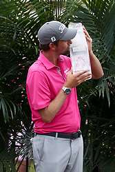 May 13, 2018 - Ponte Vedra Beach, Florida, United States - Webb Simpson kisses the trophy after winning The PLAYERS Championship at TPC Sawgrass. (Credit Image: © Debby Wong via ZUMA Wire)