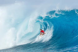 Sebastian Zietz of Hawaii advanced to Round Three of the Outerknown Fiji Pro after defeating injury replacement Bino Lopes of Brazil in Heat 3 of Round Two in overhead conditions at Cloudbreak.