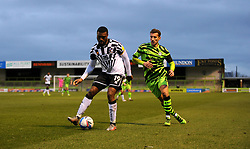 Baily Cargill of Forest Green Rovers applies pressure on David Amoo of Port Vale- Mandatory by-line: Nizaam Jones/JMP - 16/01/2021 - FOOTBALL - innocent New Lawn Stadium - Nailsworth, England - Forest Green Rovers v Port Vale - Sky Bet League Two