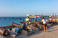 Stone Town , Zanzibar-February  28, 2019 : people enjoying the Stone Town waterfront promenade