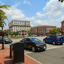 Gettysburg, PA, USA - June 30, 2013:  Looking north on Baltimore Street into the center of the downtown area in Gettysburg.