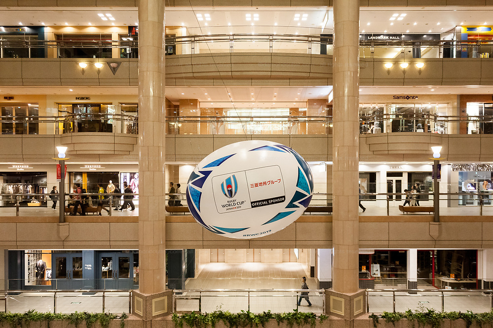 A large rugby ball hangs from the roof of Queen's Square shopping mall. Minato Mirai, Sakuraguicho, Yokohama, Japan. Sunday October 20th 2019. Hosts Japan played South Africa in their first ever quarter final placing in the competition, eventually losing 26 to 3  after South Africa dominated the second half.