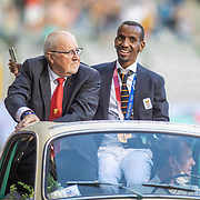 BRUSSELS, BELGIUM:  September 3:   Gaston Roelandts and Bashir Abdi during the olympians parade at the Wanda Diamond League 2021 Memorial Van Damme Athletics competition at King Baudouin Stadium on September 3, 2021 in  Brussels, Belgium. (Photo by Tim Clayton/Corbis via Getty Images)