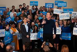© Licensed to London News Pictures. 07/03/2015. <br /> LONDON, UK. British Prime Minister, David Cameron (R) accompanied by Conservative MP for Harrow, Hannah David (L) delivers a speech in North London to mark two months until the General Election today, London, Saturday 07 March 2015. Photo credit : Hannah McKay/LNP