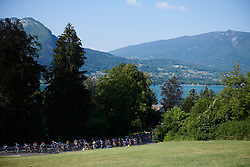 The peloton begins the first climb at La Course by Le Tour de France 2018, a 112.5 km road race from Annecy to Le Grand Bornand, France on July 17, 2018. Photo by Sean Robinson/velofocus.com
