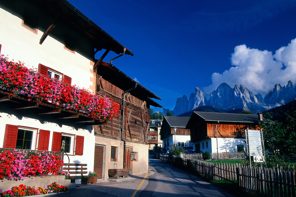 Flower covered chalet, St. Magdalena, Dolomites, Northern Italy