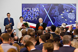 May 26, 2019 - Prime Minister of Poland Mateusz Morawiecki, deputy Prime Minister Beata Szydlo and Law and Justice (PiS) leader Jaroslaw Kaczynski and vice Prime Minsiter Beata Szydlo at the election night. First results shows PiS won the euro elections in Poland. (Credit Image: © JP Black/ZUMA Wire)