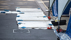 © Licensed to London News Pictures. 06/07/2018. Salisbury, UK. Plastic sheeting and a tray with chemicals (R) is in place outside a hostel in Salisbury town centre after couple, named locally as Dawn Sturgess, 44, and her partner Charlie Rowley, 45, were taken ill on Saturday 30th June 2018. Police have confirmed that the couple have been in contact with Novichok nerve agent. Former Russian spy Sergei Skripal and his daughter Yulia were poisoned with Novichok nerve agent in nearby Salisbury in March 2018. Photo credit: Peter Macdiarmid/LNP